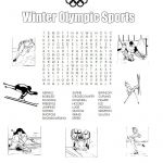 Olympic Color Sheets Inspired Winter Olympic Sports Printable Word Search Printables for Kids