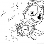 Paw Patrol Color Inspired Download or Print Skye Dot to Dot Printable Worksheet From Cartoon