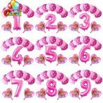 Paw Patrol Names and Pictures Exclusive 13pcs Pink Sky Chase Paw Patrol Pink Blue Heart Foil Balloon Number