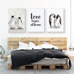 Penguin Pictures to Print Elegant 2019 Modern Penguin Family Love Canvas Painting Poster Print nordic