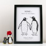 Penguin Pictures to Print Inspiring Personalised Penguin Couple Print by Moonglow Art
