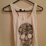 Pictures Of Sugar Skulls Pretty Used Women S White and Brown Sugar Skull Print Racerback top for