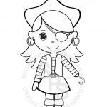 Pirates Coloring Page Inspired Personalized Printable Pirate Girl Birthday Party Favor Childrens
