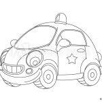 Police Car Coloring Pages Best Cartoon Police Car isolated Coloring Page Illustration for