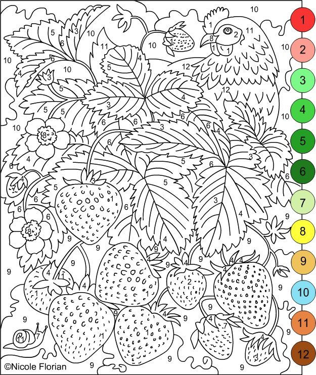 Nicole s Free Coloring Pages COLOR BY NUMBERS STRAWBERRIES and