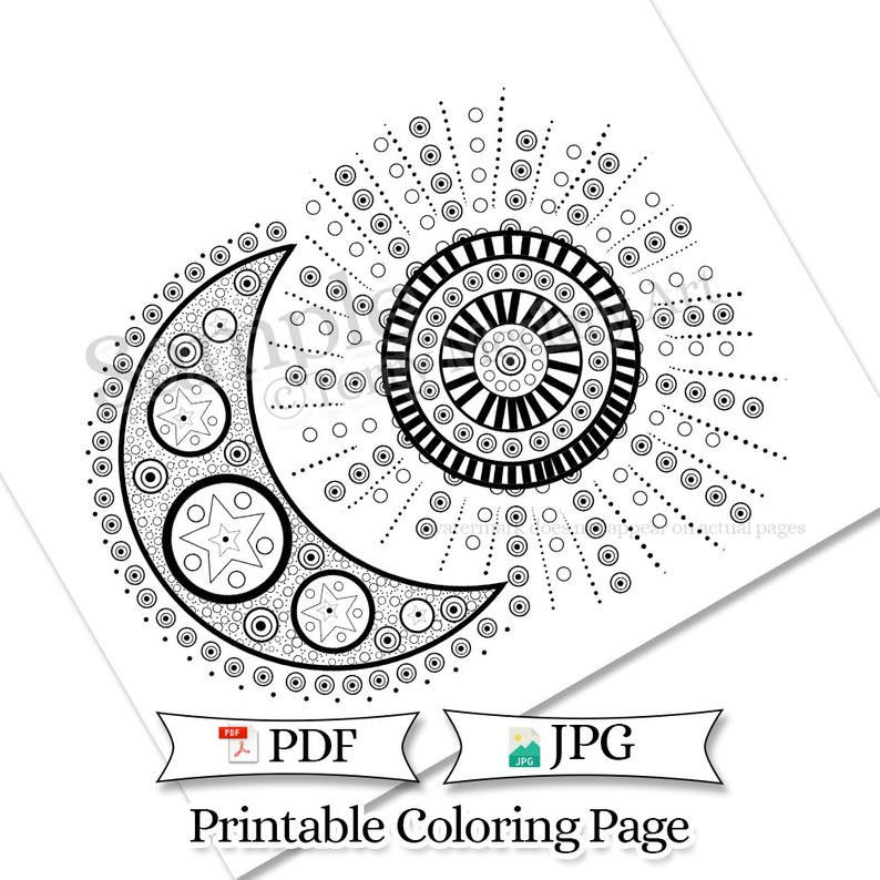 Doodle Moon and Sun Adult Coloring Page Printable Celestial