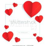Printable Heart Shape Awesome Happy Valentines Day Greeting Card Template Design with Emboss Text