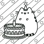 Pusheen the Cat Birthday Awesome Pusheen Cat Coloring Pages