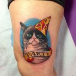 Pusheen the Cat Party Marvelous Grumpy Cat with A Party Hat Tattooed by Megon Shore Grumpycat