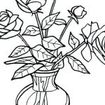 Rose Coloring Pages Excellent Flower Vase Coloring Sheet Flowers Healthy
