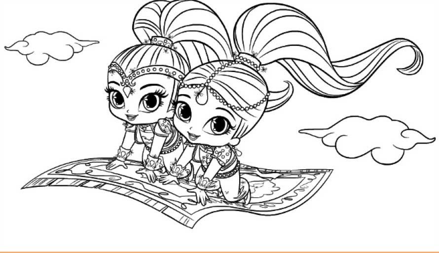 Coloring Pages Shimmer And Shine 650 375 Shimmer And Shine The