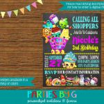 Shopkins Birthday Games Awesome Shopkins Chalkboard Birthday Party Invitations Personalized