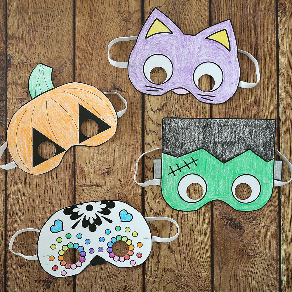 Halloween masks to print and color It s Always Autumn