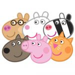 Smiley Face Mask Printable Inspired Peppa Pig Face Mask Set Of 6 Peppa Candy Danny Suzie Pedro and