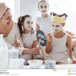 Smiley Face Mask Printable Wonderful Mom with Her Daughters Making Clay Face Mask Stock Image Image Of