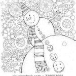 Snowflake Coloring Book Inspired Cheerful Snowman and Snowflakes Winter Snow Sled Carrot buttons