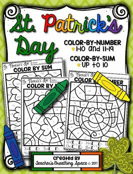 St Patrick Day Coloring Sheets Inspired St Patrick S Day Color by Number 1 10 & 11 19 and Color by Sum