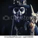 Sugar Skull top Hat Amazing Skull Makeup Male A Man with A Skull Makeup Dressed In A Tail Coat