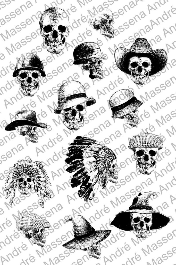 Halloween clipart human skull Gothic set witch hat cowboy