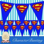 Superman Logo Printables Awesome Superman Bunting Flag Party Superhero Bedroom Playroom Blue Red
