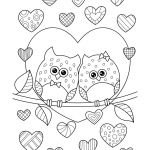 Valentine Coloring Sheets Printable Exclusive Valentine S Day Coloring Pages Ebook Owls In Love with Hearts